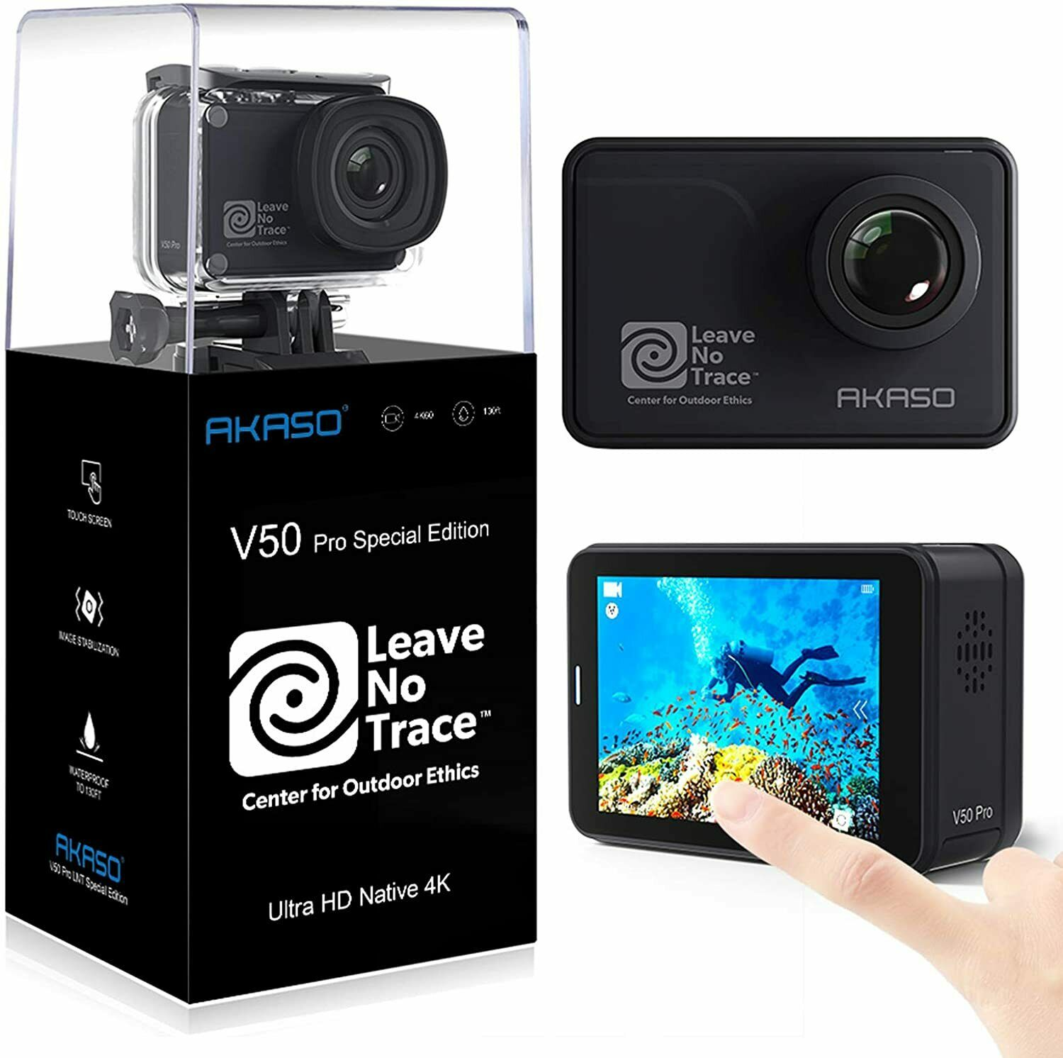 AKASO V50 Pro SE Action Camera, 4K/60fps Touch Screen WiFi EIS 39m Waterproof